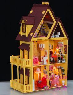 3D DIY LED light wooden chocolate dollhouse Miniatures Kit(China (Mainland))
