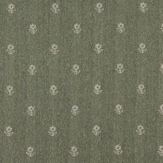Green And Beige, Flowers Country Upholstery Fabric By The Yard