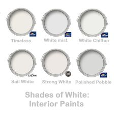 White paint colours: Interior paints in shades of white and grey. Light and neutral paint colours. UK brands. Dulux Timeless, Dulux White Mist, Dulux White Chiffon, Crown Sail White, Farrow & Ball Strong White, Dulux Polished Pebble