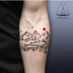 mountain tattoo, i love the red dot