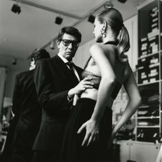 Yves Saint Laurent and model Karen Mulder. Photo: Helmut Newton.