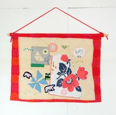 Textile Wall Hanging made from vintage blanket and fabrics, hand embroidery, applique, red. Gift