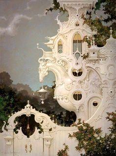 The Carriage House daniel merriam Futuristic Architecture, Beautiful Architecture, Beautiful Buildings, Art And Architecture, Beautiful Places, Fantasy World, Fantasy Art, Fantasy Landscape, Cool Art