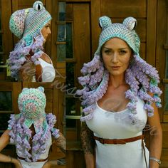 Crochet pastel octopus hat