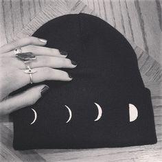 Lunar Phase Toque - Beanie - http://ninjacosmico.com/28-cool-grunge-items-etsy/2/