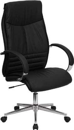 Flash Furniture High Back Black Leather Executive Office Chair Executive  High Back Swivel Chair, Width By Depth By Height. Double Padded Seat And  Back.