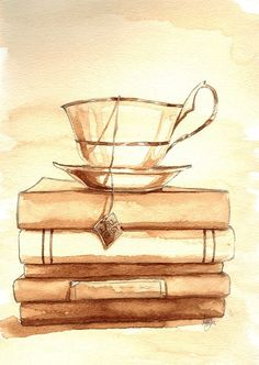 Artwork/stationery idea: use a print like this for table numbers or other signage. Decor idea: teacups and books. (Ana Rosa - http://ana-rosa.tumblr.com/post/44082658406/http-whrt-it-xrqsck)