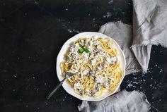 Pasta spaghetti with mushroom sause by Foxys on Creative Market