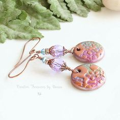 Copper Earrings Polymer Clay Discs Swarovski Crystals