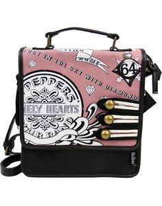 DISASTER DESIGNS Sgt Pepper Retro 1960s Beatles Pink Mini Bag