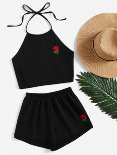 Shop Rose Embroidered Tie Back Halter Top And Shorts Co-Ord online. SheIn offers… Shop Rose Embroidered Tie Back Halter Top And Shorts Co-Ord online. SheIn offers Rose Embroidered Tie Back Halter Top And Shorts Co-Ord & more to fit your fashionable needs. Summer Outfits For Teens, Teenage Outfits, Teen Fashion Outfits, Girl Fashion, Girl Outfits, Womens Fashion, Young Fashion, Ootd Fashion, Fashion Trends