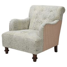 Accent your living room or study in sophisticated style with this distinctive arm chair, featuring paisley-print upholstery and classic wood legs.