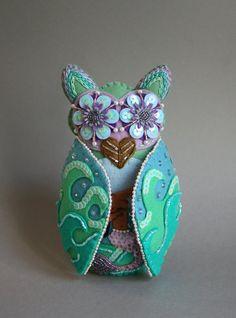 Mermaid Owl Mexican Folk Art Loteria by calaverasYcorazones