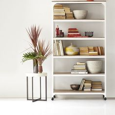 Whitewashed Wood + Metal Shelves | west elm