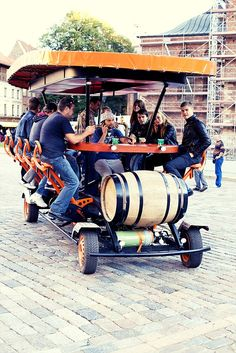First Beerbike in Riga, Latvia:  It is a pedal powered bar on the wheels. As the bar attendants pedal the barman is steering. The bar can take up to 15 people. The beer tank is usually filled with beer, although a non-alcoholic drink can be used as well. Bar attendants choose the route within the boundaries of the city center.