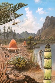 The fauna and flora of Permian Russia, an super painting by Richard Bizley.