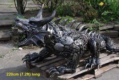 dragon sculpture scrap metal animal art life size