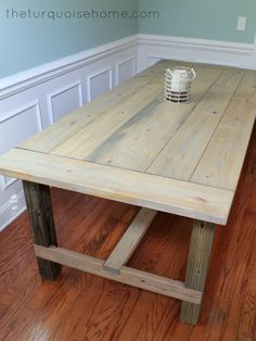 Building your own table allows you to paint or stain this beautiful farmhouse table to fit your  own country style.
