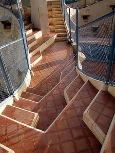 Architecture Antoni Gaudi - La Pedrera, escales de la terraça, Passeig de Gracia, Barcelona, Catalonia