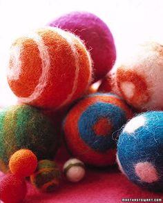 Martha Stewart describes how to make Felt Balls. Then you can make felt ball rugs.