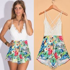 I like this, do you like? You can buy here for US$5.91: http://www.wholesalebuying.com/product/women-fashion-sexy-v-neck-sleeveless-backless-elastic-high-waist-print-lace-patchwork-short-playsuit-jumpsuit-174665?utm_source=pin&utm_medium=cpc&utm_campaign=ZYWB27 Women Fashion Sexy V Neck Sleeveless Backless Elastic High Waist Print Lace Patchwork Short Playsuit Jumpsuit
