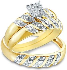 """Size - 9 - 10k Yellow and White 2 Two Tone Gold Mens and Ladies Couple His & Hers Trio 3 Three Ring Bridal Matching Engagement Wedding Ring Band Set - Round Diamonds - Princess Shape Center Setting (.09 cttw) - SEE """"PRODUCT DESCRIPTION"""" TO CHOOSE BOTH SIZES"""