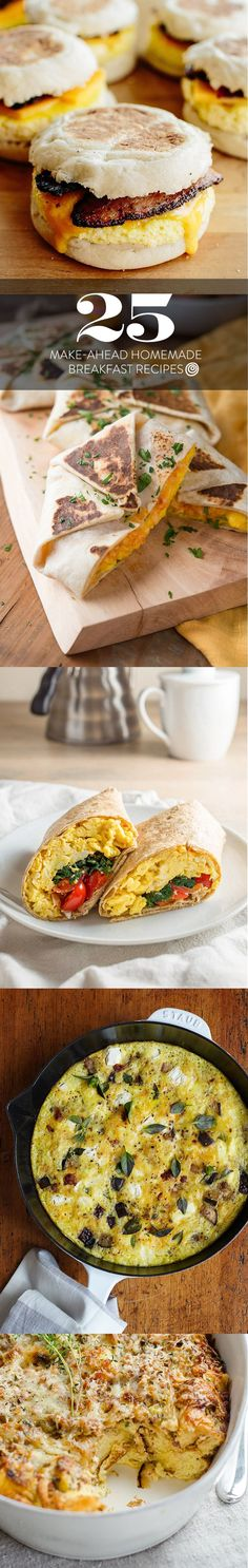 25 Make Ahead Breakfast Ideas and Recipes. Makeahead meals are KEY to making sure you eat breakfast EVERY DAY. From casseroles to sandwiches, and everything in between, these homemade, on the go and at your desk recipes are sure to start your day off on the right foot!