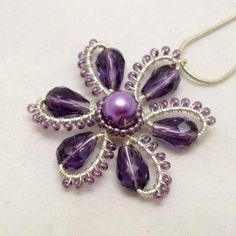 Purple Flower Pendant    Wire Wrapped. by wanting