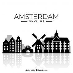 Amsterdam Holland, Amsterdam City, Amsterdam Skyline, Skyline Design, Skyline Silhouette, Vector Photo, Backgrounds Free, Free Travel, Travel Posters