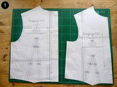 Free basic bodice pattern, sizes UK 8–16 (bust 84 to 104 cm). Instructions to draft dress pattern based on bodice.