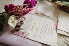 Invitation with rose gold calligraphy - Purple and pink florals for wedding at Oakland Hills Country Club in Bloomfield Hills, Michigan - Leah E. Foil Stamped Wedding Invitations, Letterpress Invitations, Watercolor Invitations, Elegant Invitations, Custom Invitations, Wedding Stationery, Purple Wedding, Floral Wedding, Summer Wedding