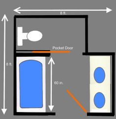 Free bathroom floor plans for your next remodeling project - for your master bathroom, bathroom, or powder/guest bathroom.: Private Area in These Bathroom Plans for Toilet Area Master Bathroom Layout, Bathroom Design Layout, Bathroom Design Small, Bath Design, Master Bathrooms, Small Bathrooms, Small Master Bathroom Ideas, Layout Design, Small Bathroom Floor Plans