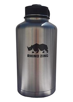 Rhino Zing Stainless Steel Water Bottle and Beer Growler w/Standard Lid, Insulated, Wide Mouth, 64-Ounce, Classic Stainless * You can get more details at https://www.amazon.com/gp/product/B00NB6JFGA/?tag=homeimprtip08-20&pyx=220716224932