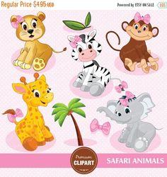 70% OFF SALE Safari animals digital clipart, safari nursery, safari clipart, pink safari, jungle animals clipart - CA139
