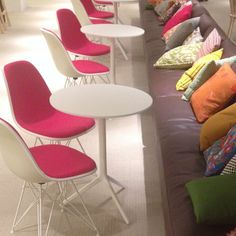 Eames wirebase chairs in pink? Why not!  @Herman Miller, Inc. wins the award for best showroom at this years #neocon14! #eames #maharam #colour #fa...