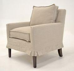 "Quatrine Custom Furniture - Manon Chair. Neutral linen slipcover with 1/2"" flat flange and pleated corners. #slipcover #linen #handmade"