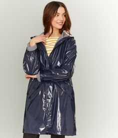 blue raincoat shiny coat pvc vinyl rainmac ciré