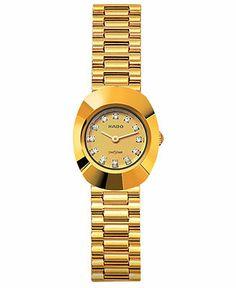 Rado Original Quartz Diamond Hour Markers Dial Date Gold Tone Stainless Steel Watch# (Women Watch) High End Watches, Fine Watches, Luxury Watches, Rolex Watches, Gold Watches Women, Rado, Beautiful Watches, Watch Brands, 18k Gold