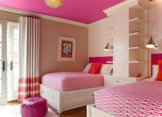 21 Awesome Pink Girl Bedroom Ideas - pink ceiling and neutral walls.