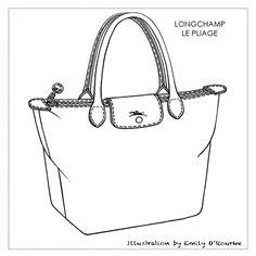 LONGCHAMP - LE PLIAGE BAG - Designer Handbag Illustration / Sketch / Drawing / CAD / Borsa Disegno