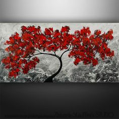 "Abstract Painting Original Painting Modern Landscape Tree Palette Knife Art by Gabriela 48""x24"" Painting Black White Red Painting"