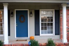 Front Porch, : Exquisite Ranch Home Front Porch Decoration With Blue Single Front Door Including Light Grey Wood Siding And Double Black Wal...