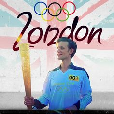Math Smith (Doctor Who) running a leg of the Olympic Torch