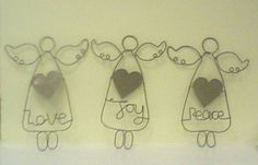 † wire angels - peace, love, joy - rustic feel, i'm thinking tattered muslin to hang (smaller feet too) - would look nice in black wire - for Christmas, or for shabby chic bedroom with off-white and pastels (maybe make hearts in pastels? pastel ribbons?) So lovely though!