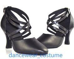 Evkoodance Black leather sole medium heel 5 6 7 closed toe Standard  ballroom latin dance shoes for women 9f5e4de2b790