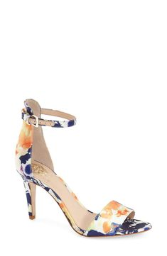 This sleek ankle strap sandal from Vinbce Camuto gets an upgrade with a beautiful watercolor pattern.