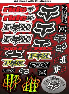 fox stickers,race stickers,auto decals,helmet decal,motorcycle graphics,tuning.