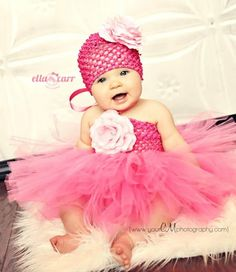 Beautiful Pink Tutu Dress, Infant Tutu Dress, Baby Tutu Dress, Toddler Tutu Dress with Matching Flower Hat OR Headband on Etsy, $49.00