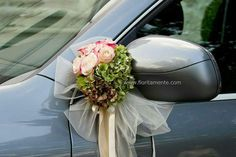 Like the placement on arm of the side mirror. Beauty Iphone Wallpaper, Just Married Car, Bridal Car, Wedding Car Decorations, Wedding Canopy, Bride Flowers, Deco Floral, Magical Wedding, Event Decor