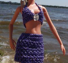 Свяжем купальник для Барби 1.Associate swimsuit for Barbie 1. Maillot de...